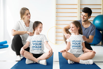 T-Shirt Mockup of Two Little Sisters at a Yoga Class 40481-r-el2