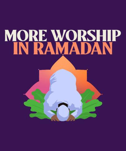 T-Shirt Design Generator for Ramadan with a Praying Man Illustration 3616c
