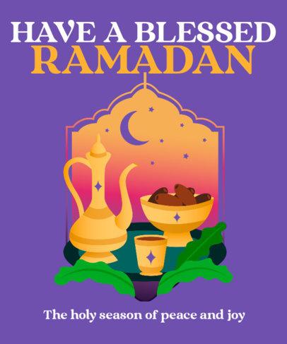 T-Shirt Design Template for Ramadan Featuring a Traditional Teapot 3616f