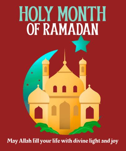 Illustrated T-Shirt Design Maker Featuring a Mosque 3616d