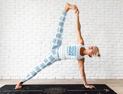 Sublimated Leggings Mockup of a Woman Wearing a Tank Top While Doing Yoga m4703-r-el2