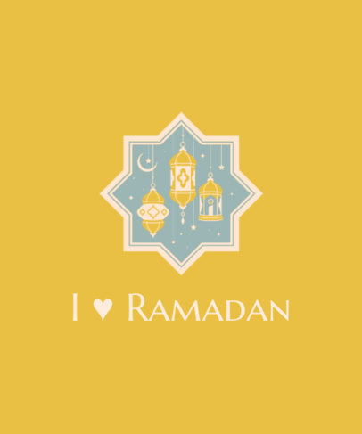 Illustrated T-Shirt Design Template for Ramadan Featuring Lighted Lanterns 3615e