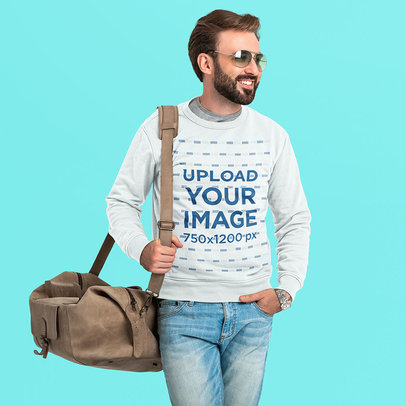 Sweatshirt Mockup of a Bearded Man with Carry-On Baggage m4207-r-el2