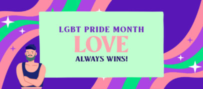 Facebook Cover Template Featuring an LGBT Character and a Quote 3609f