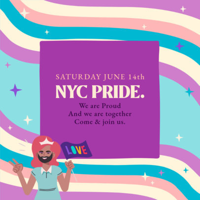 Instagram Post Design Maker to Celebrate LGBT Pride Day Featuring a Character Holding a Flag 3609d