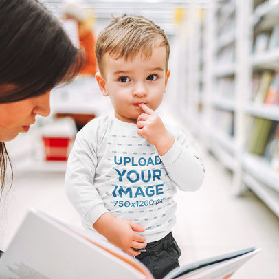 Long Sleeve Tee Mockup of a Sweet Toddler at a Book Store 46359-r-el2