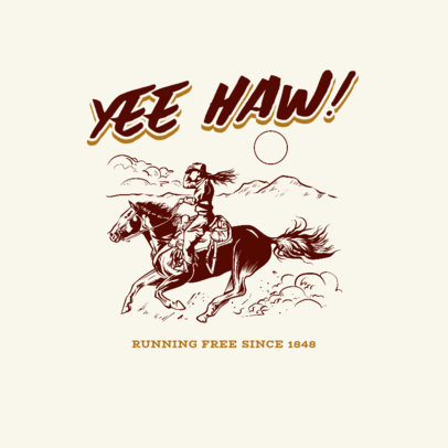 Clothing Brand Logo Maker with Vintage Illustrations of Cowboys 4297