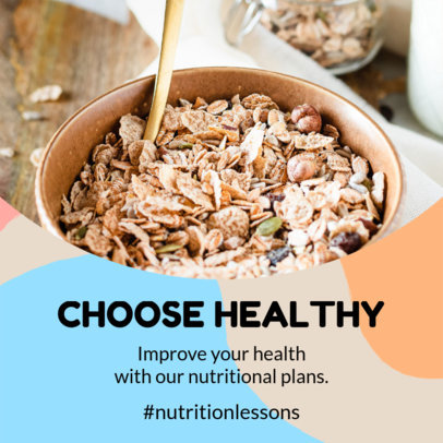 Instagram Post Design Template Featuring Healthy Nutrition Tips 3632