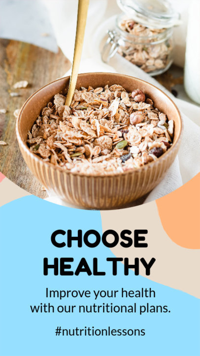 Instagram Story Design Template Featuring Healthy Nutrition Tips 3632