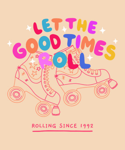 T-Shirt Design Template Featuring Colorful Lettering Designs and a Roller-Skating Theme 3629