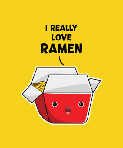 T-Shirt Design Maker for Ramen Enthusiasts Featuring a Cute Cartoon 3528c-el1