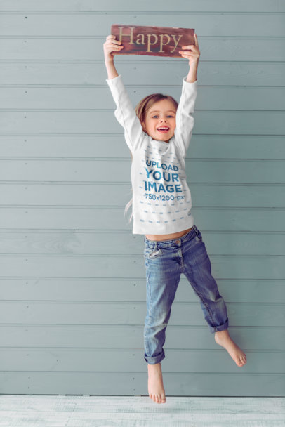 Long Sleeve Tee Mockup Featuring a Jumping Girl with a Happy Sign 45270-r-el2