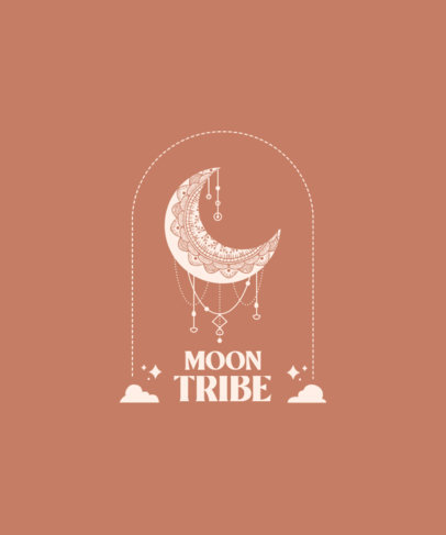 T-Shirt Design Generator Featuring Boho-Styled Moon Illustrations 3860a-el1