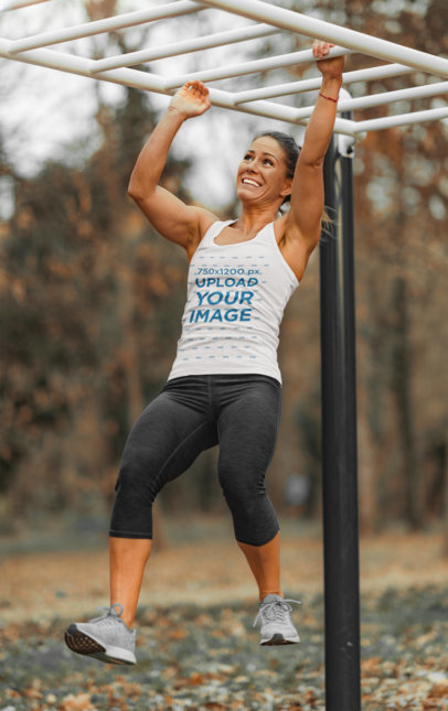 Tank Top Mockup Featuring a Woman Crossing a Monkey Bar 35779-r-el2