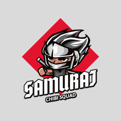 Chibi-Style Logo Template Featuring a Samurai 2810b-el1