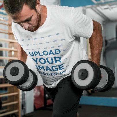 T-Shirt Mockup of a Bearded Man Doing a Strength Workout 36356-r-el2