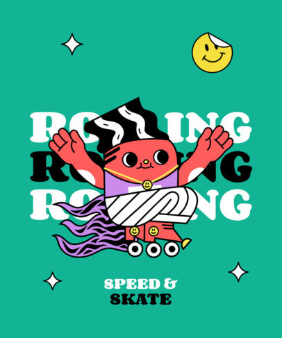 Cartoonish T-Shirt Design Creator with a Roller-Skating Character 3628e