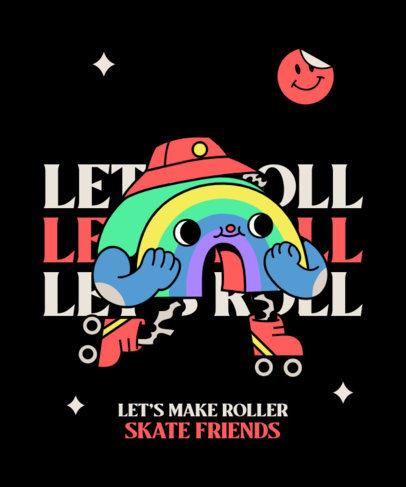 T-Shirt Design Template Featuring a Rainbow Roller-Skating 3628a