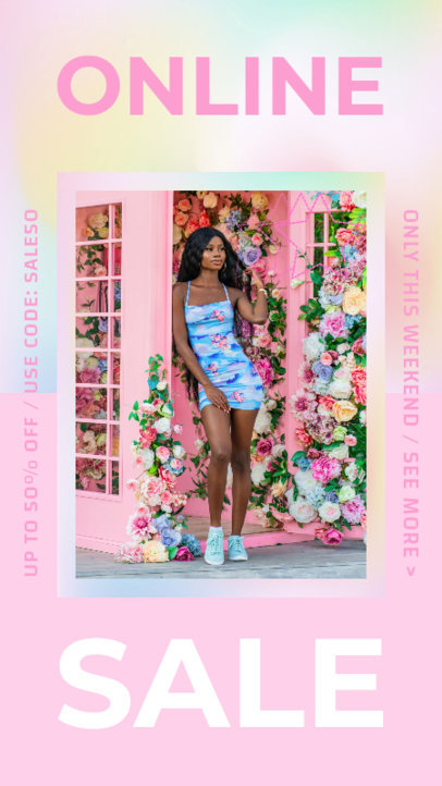 Instagram Story Design Generator for a Fashion Flash Sale Featuring a Pastel Color Palette 3631j