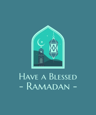 Ramadan-Themen Illustrated T-Shirt Design Generator Featuring a Quote 3615i