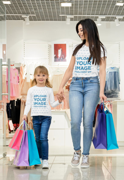 T-Shirt and Long Sleeve Tee Mockup of Mom and Daughter Shopping Together 45872-r-el2