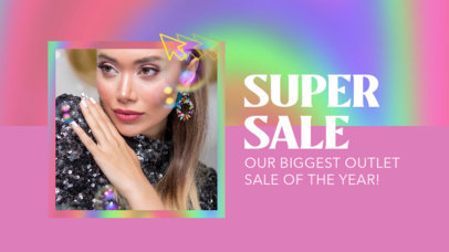 Youtube ThumbnailTemplate for a Fashion Special Sale Featuring a Holographic Frame 3631d