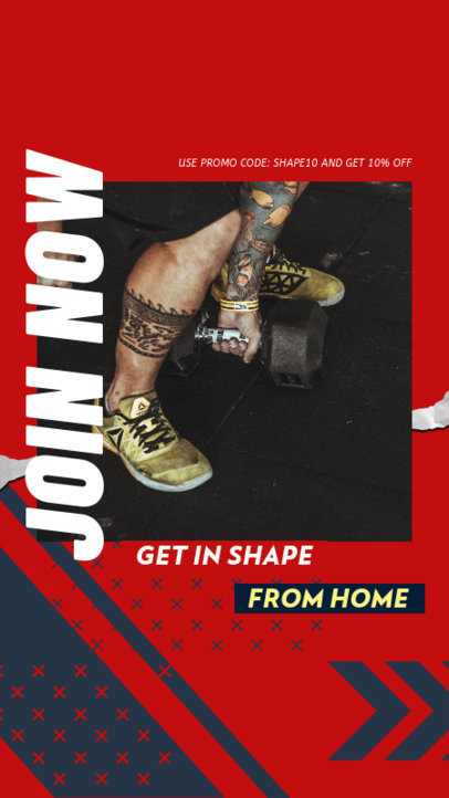 Bold Instagram Story Design Maker Featuring a Home Workout Routine 3635e