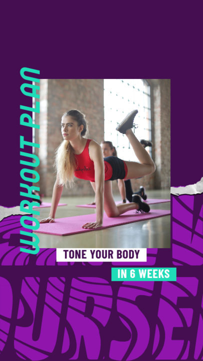 Instagram Story Design Generator for Fitness Profiles Featuring a Workout Plan 3635b