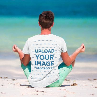 Back-View T-Shirt Mockup of a Man Meditating at the Beach M6664-r-el2