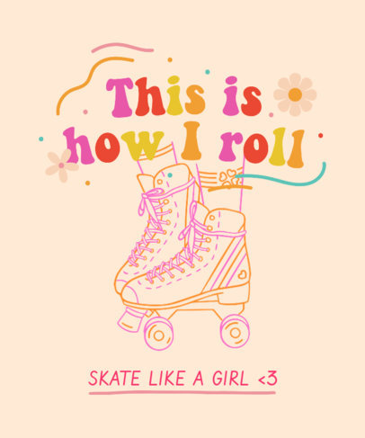 T-Shirt Design Template for Roller Skating Enthusiasts With Fun Lettering Designs 3629d