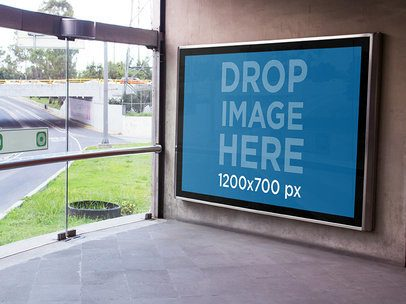 Mockup of a Billboard on a Subway Wall Entrace a4826