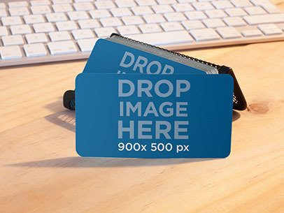 Stack of Business Cards on a Cardholder at an Office Mockup a6927