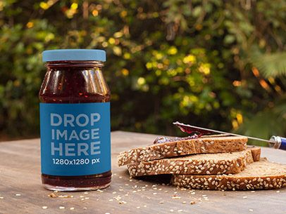 Jar of Marmalade Label Mockup with Fresh Bread a7264