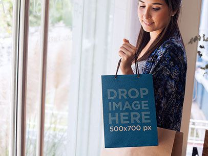 Bag Mockup of a Woman Carrying a Set of Shopping Bags a6739