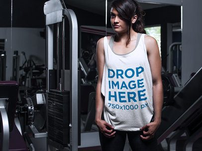 Tank Top Mockup of a Woman Working Out at the Gym 7624a