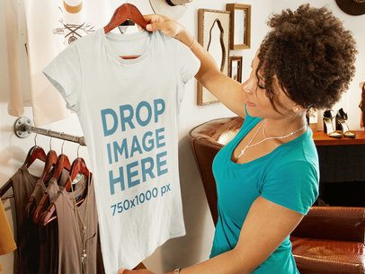 T-Shirt Mockup of a Young Woman Shopping at a Boutique 6567a