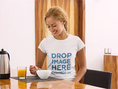 Happy-Looking Woman Having Breakfast T-Shirt Mockup a7799