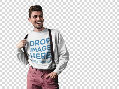 Crewneck Mockup Featuring a Young Man Wearing Suspenders a10006