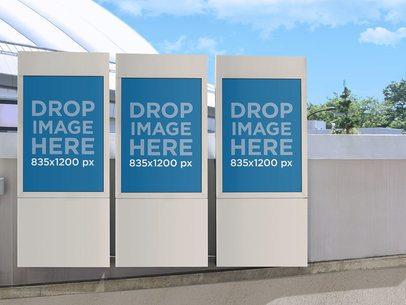Mockup Template of a Set of Banners at a Shopping Mall a10469