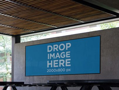 Horizontal Banner Mockup in a School's Cafeteria a10581