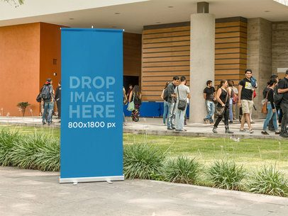 Vertical Banner Mockup Outside a Convention Center a10578