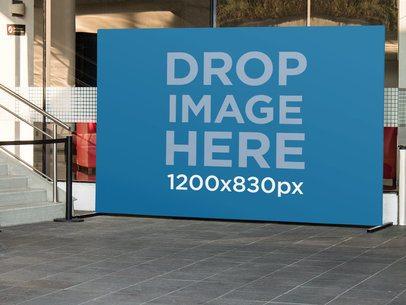 Horizontal Banner Mockup Outside a Theater a10530