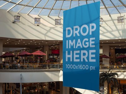 Vertical Banner Mockup at a Shopping Mall a10653