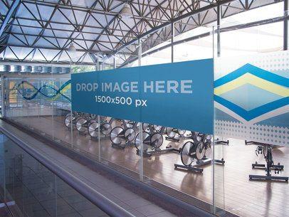 Horizontal Banner Mockup at a Gym a10608