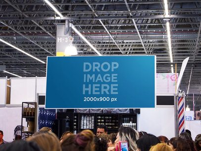 Banner Mockup Hanging From a Ceiling at a Convention a10699