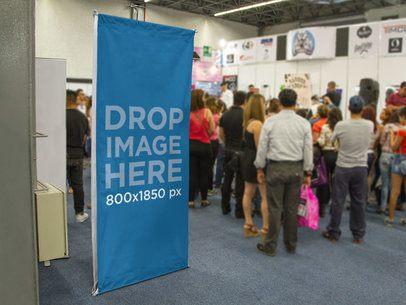 Vertical Banner Mockup at a Trade Fair a10687