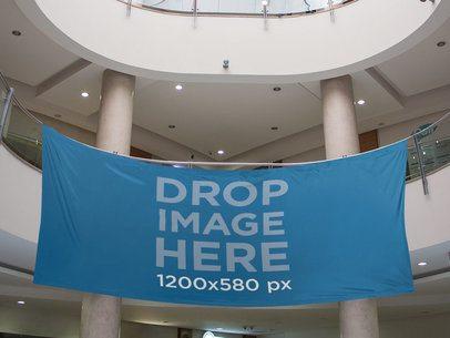 Horizontal Banner Mockup Hanging at a Mall a10597