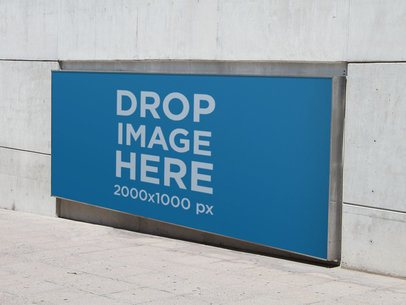Horizontal Banner Mockup in a Concrete Wall a10671
