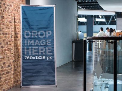 Mockup of a Vertical Banner at a Modern Convention Center a10534