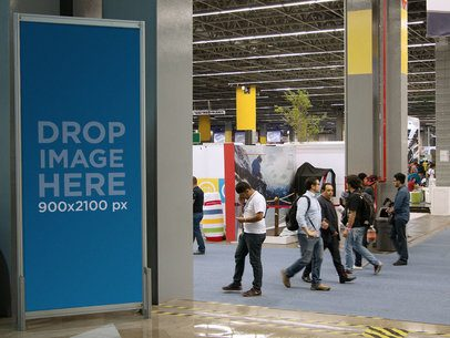 Mockup of a Vertical Banner Standing in an Expo a11257